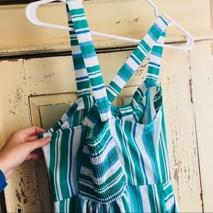 65c582e355d a new day Pants - Blue and green striped jumpsuit